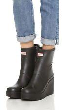 "Hunter Short Refined Matte Black Rubber Rain 4"" Wedge Heel Boots US 9/ UK 7"
