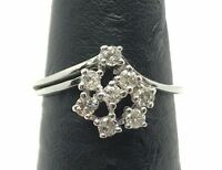 18K White Gold .40CTW Round Diamond  Abstract Cluster Flower Cocktail  Ring 5.25