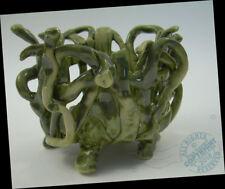 """5"""" ARTIST Green ABSTRACT Woven Basket 2016 Modern Art Pottery SIGNED ikebana"""