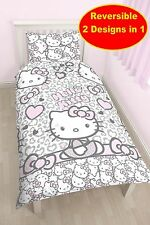 NEW LEOPARD DESIGN  HELLO KITTY SINGLE DUVET QUILT COVER SET GIRLS BED BEDROOM