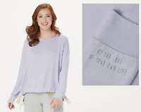 Peace Love World Comfy Knit Top with Drawstring Hem Detail - Lilac - XSmall