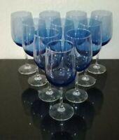 "Wine Glasses Cobalt Blue Blown Glass 18.5 oz Clear 4"" Stem (Set of 8)"