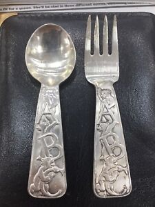 Vintage Reclaimed Silver Christening New Baby Girl Boy Teaspoon Engraved Stamped Cutlery Gift Silver Baby Spoon