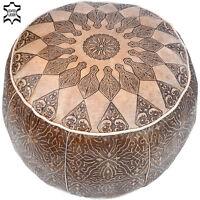 Orientalische Leder Sitzkissen Rund Marokkanische Fußkissen Pouf Hocker LSR12