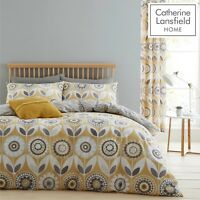 Catherine Lansfield Annika Easy Care Quilt/Duvet Cover Bedroom Collection Ochre