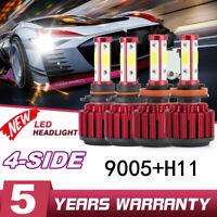 4x H11+9005 4-Side LED Headlight 200W 30000LM Hi-Lo Beam Combo Kit 6000K Lamp ~