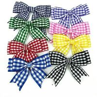 "School Bows Checked, Double Ribbon With Tails 4"" Beautiful select Pack size"
