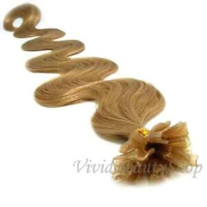 25 U Tip Pre Bonded Fusion Body Wave Wavy Remy Human Hair Extension Honey Blonde