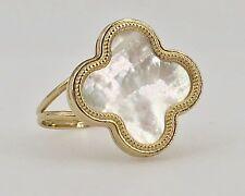 Solid 14k Yellow Gold & Mother of Pearl 4 Leaf Clover 2-Sided Ring Sz. 7.5, New