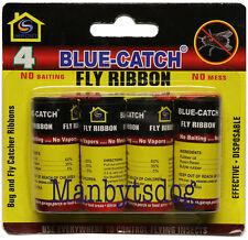 4 pk. Blue-Catch Fly Ribbon Fly Paper Fly Catcher Strips  US Seller • Fast Ship
