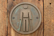 AMBULANT Male Toilet Door Sign, Bronze Resin Mens Bathroom plaque. NEW