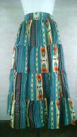 Plus Size Skirt XXL Prairie Turquoise Southwest Print SQUARE UP FASHIONS Maxi