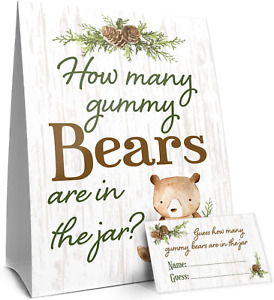 Guess How Many Gummy Bears Woodland Baby Shower Game (Sign with Cards)