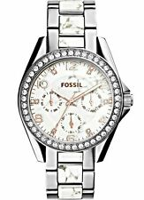 Fossil Women's Riley Crystal Accented Two-Tone Stainless Bracelet Watch ES3973