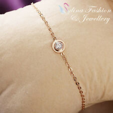 18K Rose Gold Plated Simulated Diamond Round Cut Delicate Slim Halo Bracelet
