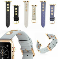 Genuine Leather Watch Band Strap Spikes Rivets for Apple iWatch Series 4/3/2/1