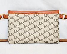 "MICHAEL KORS Khaki Signature Logo PVC Waist Belt Fanny Pack Tan Lthr 36"" Belt"