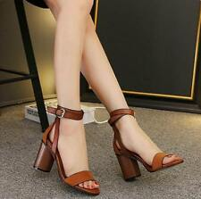 Womens Chunky High Heels Open Toe Shoes Buckles Sandals Hollow Retro Roman S395