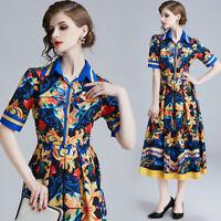 2019 Summer Floral Print Collar Short Sleeve Empire Waist Women Mid A-Line Dress