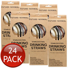 24 x FUTURE NORMAL REUSABLESTAINLESS METAL DRINKING STRAW BENT WITH BRUSH BAG