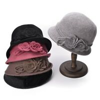 women Retro Collapsible Soft Knit Wool Cloche Bucket with Side Flower Hats A466
