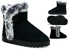 Ladies New Fur Faux Suede Pull On Warm Winter Women Boots UK Size 3-8