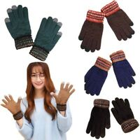 Men's Wool Knitted Gloves Autumn Winter Touch Screen Women's  Thick Warm Cute