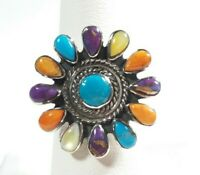 925 STERLING SILVER ROUND BRAIDED FLOWER SPINY OYSTER MOP TURQUOISE SIZE 7 RING