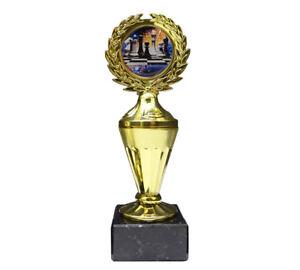 Schach-Pokal mit buntem Emblem und Ihrer Wunschgravur (Biso1)
