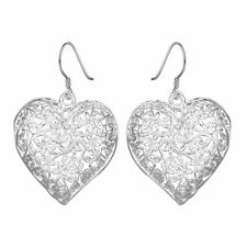 925 Silver Plt Large Filigree Flower Love Heart Drop Dangle Hook Earrings D