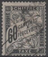"FRANCE STAMP TIMBRE TAXE N° 21 "" TYPE DUVAL 60c NOIR "" OBLITERE A VOIR"