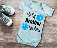 My Big brother has Paws short sleeve light blue baby grow bodysuit. cat dog paws