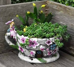 Fiddlehead Fairy Garden- Fairy Teacup Planters- Miniature Garden Accessory