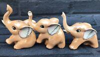 Vintage Lustre wear 3 Porcelain Elephants  Figurines 1950's - 60's Beige Kitsch