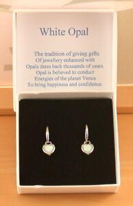 Sterling Silver White Opal Heart Earrings/Opal Heart Drop Earrings/Opal Studs/UK