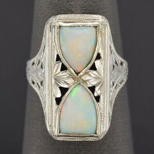 Antique 14K White Gold Opal Art Deco Cocktail Ring Size 4