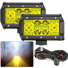2x 5Inch Quad Row LED Work Lights Spot Flood Combo Amber Driving Offroad +Wiring