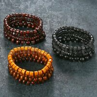 12pcs Wood Mix Lots Ethnic Tribal Beaded Men Women Cuff Wristband Bracelet Set