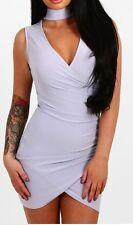 New Womens Choker V Neck Cross Wrap Over Evening Short Mini Bodycon Party Dress