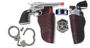 Kids Sheriff Lock'em Up Western Toy Gun Holster Set w/Badge, Belt, Cuffs