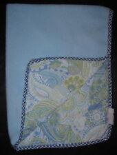 Blue Green White Paisley Fleece Gingham Trim Lovey Security Baby Blanket