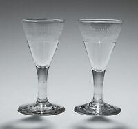 A Pair of Georgian Egg & Dart Etched Dram Glasses - Antique c1800