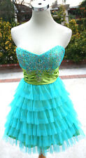 NWT ROBERTA $120 Turquoise / Lime Prom Evening Dress 9