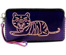 Genuine Leather Handmade Wallet purse coin porch Womens ladies w/ zipper purple