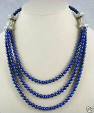 Beautiful Tibet silver 6mm Lapis beads necklace 17-20""