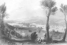 Hudson River, TROY New York ~ Old Antique 1838 Landscape Art Print Engraving