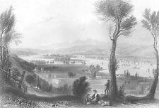 Hudson River, TROY New York ~ Old Antique 1838 Landscape Art Print Engraving