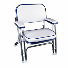 Portable Folding Deck Chair with Aluminum Frame and Armrests(White/Blue)