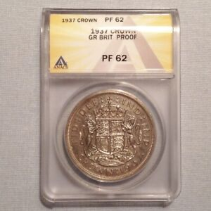 ~1937 Great Britain George VI Silver Proof Crown ANACS PF62