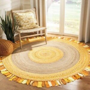 Rug 100% Natural Cotton & Jute Bohemian Reversible Round Area Dhurrie Carpet Rug